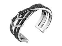 Cole Haan Chevron Metal Leather Braided Cuff Silver Black Bracelet Gray