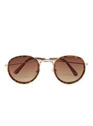 Topman Tortoise Shell Printed Round Sunglasses Brown