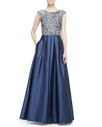 Aidan Mattox Beaded Bodice Full Skirt Combo Gown Twilight