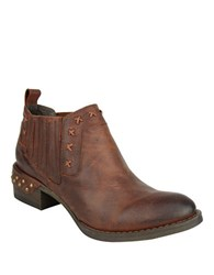 Naughty Monkey Miss M Nailhead Leather Booties Wine