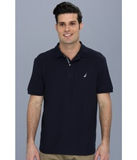 Nautica S S Solid Polo With Tape Navy Men's Short Sleeve Pullover