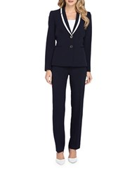 Tahari By Arthur S. Levine Petite Contrast Shawl Collar Jacket And Pants Suit Set Navy Ivory