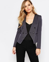 Sisley Cropped Blazer In Charcoal Grey