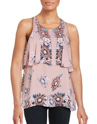 Ella Moss Floral Print Sleeveless Popover Top Pink