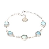 Poppy Jewellery Aquamarine Gemstone Silver Bracelet Blue
