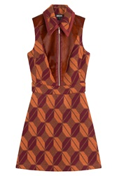 Just Cavalli Printed Dress With Wool Brown