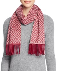 Bloomingdale's C By Geometric Cashmere Scarf Pinot Oatmeal