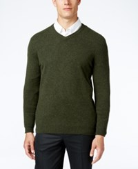 Club Room Big And Tall Cashmere V Neck Solid Sweater Olive Mist Heather