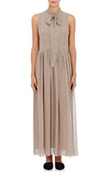 R R Studio By Robert Rodriguez Women's Geometric And Floral Print Chiffon Tieneck Long Dress Tan