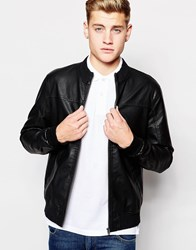 Jack And Jones Jack And Jones Faux Leather Biker Jacket Black