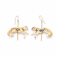 Hop Skip And Flutter Merry Go Round Porcelain Cheetah Drop Earrings Gold