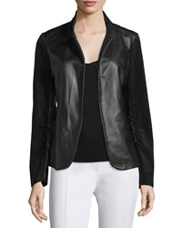 Neiman Marcus Scrunch Sleeve Leather And Suede Blazer Black