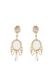 Dolce And Gabbana Fantasy Mirror Chandelier Earrings Gold