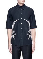 Ports 1961 Bird Embroidered Short Sleeve Shirt Black