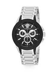 Versace Character Stainless Steel Chronograph Watch Black Silver