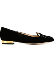 Charlotte Olympia 'Kitty' Slippers Black