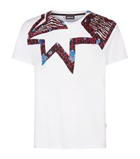 Just Cavalli Eagle Snake Print T Shirt Male White
