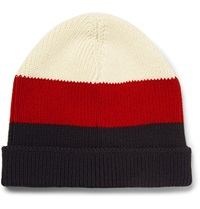 Thom Browne Striped Cotton Beanie Red