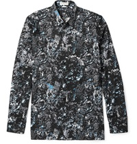 Balenciaga Slim Fit Marble Print Cotton Poplin Shirt Blue