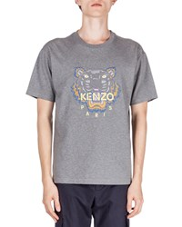 Kenzo Embroidered Tiger Icon Short Sleeve Tee Gray Size Large