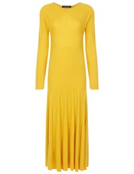 Cedric Charlier Yellow Ribbed Long Sleeve Midi Dress