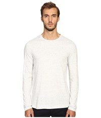 Vince Cotton Modal Mix Stitch Long Sleeve Crew Heather White Heather White Men's Clothing