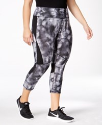 Calvin Klein Performance Plus Size Printed Compression Capri Leggings Neutral Combo