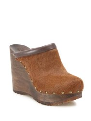 See By Chloe Clive Calf Hair Wedges Dark Brown