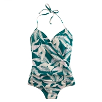 J.Crew Tropical Fern Halter Wrap One Piece Swimsuit Tropical Forest