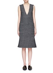 Mo And Co. Edition 10 Glen Plaid Plunge V Neck Dress Multi Colour