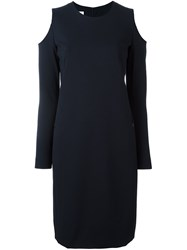 Akris Punto Cold Shoulder Dress Blue