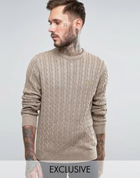 Farah Jumper With Cable Knit Exclusive Tarmac Brown