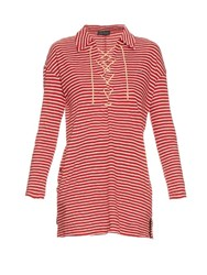 Undercover Long Sleeved Tie Neck Cotton Jersey Top Red Stripe