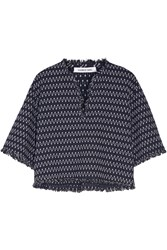 Elizabeth And James Laurie Frayed Stretch Knit Top Blue