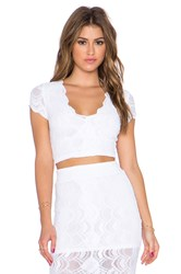 Nightcap Victorian Lace Deep V Crop Top White