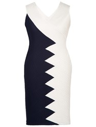 Chesca Contrast Pintuck Dress Navy Ivory