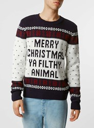 Topman Navy Merry Christmas You Filthy Animal Jumper Blue