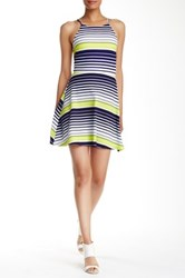 Love...Ady Halter Striped Fit And Flare Dress Blue