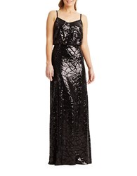Donna Morgan Sequined Spaghetti Strap Gown Black