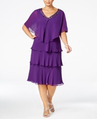 Si Fashions Sl Plus Size Tiered Sheath Dress And Embellished Jacket Deep Orchid