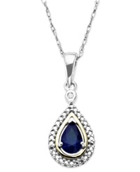 Macy's Sapphire 1 2 Ct. T.W. And Diamond Accent Teardrop Pendant Necklace In 14K Gold And Sterling Silver
