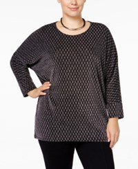 Alfani Plus Size High Low Dolman Sleeve Top Only At Macy's Geo Silver