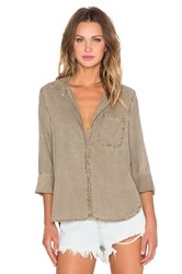 Bella Dahl Shirt Tail Button Up Top Olive
