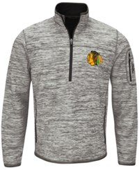 G3 Sports Men's Chicago Blackhawks Fast Pace 1 4 Zip Pullover Gray Black