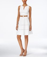 Nine West Belted Split Neck Fit And Flare Dress White