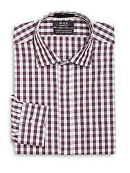 Saks Fifth Avenue Black Modern Classic Fit Gingham Dress Shirt Burgundy