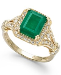 Effy Collection Brasilica By Effy Emerald 2 1 5 Ct. T.W. And Diamond 1 3 Ct. T.W. Ring In 14K Gold Green
