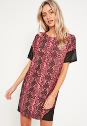 Missguided Pink Mesh Diagonal Panel T Shirt Dress Burgundy