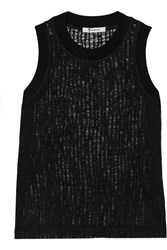 Alexander Wang Open Knit Wool Blend Top Black