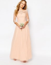 Chi Chi London Bardot Neck Maxi Dress With Premium Lace And Tulle Skirt Pink